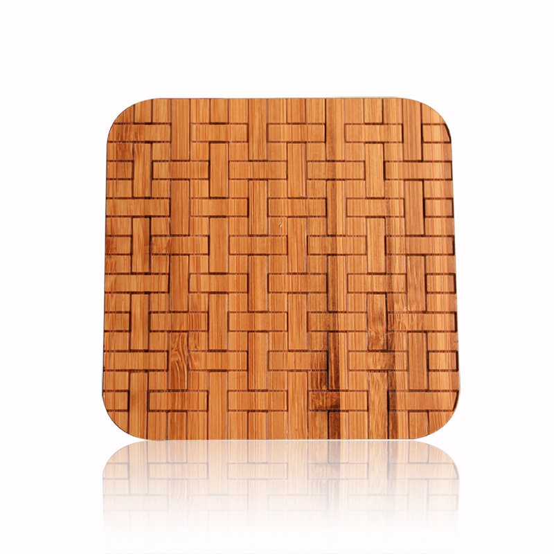 Plaid woven bamboo tea tea accessories tea coasters cup mat insulation against hot pad mat bamboo coasters cup holder