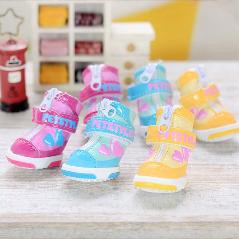 1 free shipping double love candy colored shoes petstyle pet dog shoes waterproof shoes slip shoes teddy