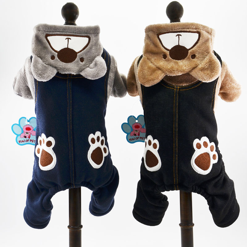 1 free shipping fun pet dog clothes fall and winter clothes teddy small dog clothes strap bear paw print pants legs