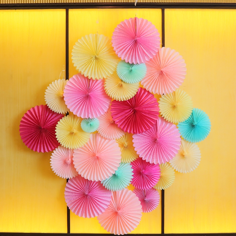 10 cm fan flower birthday garland room pendant opening party decoration marriage room layout wedding supplies paper flower