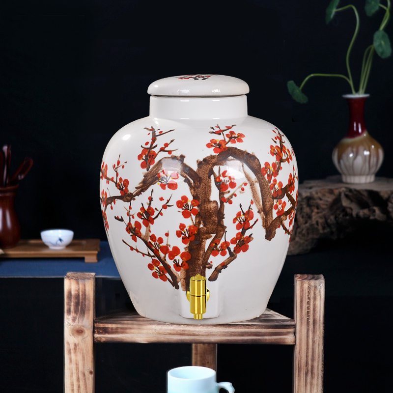 10 kg 20 kg 30 loaded ceramic jars painted plum wine bottle empty bottle of wine cylinder jingdezhen