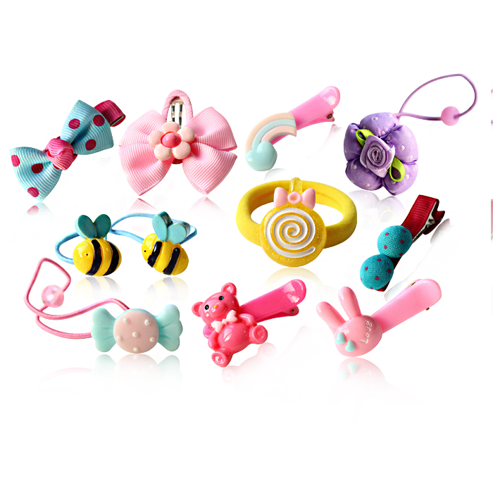 10 loaded korea cartoon children acrylic hair band baby girls side clip bangs clip hair ornaments head ornaments