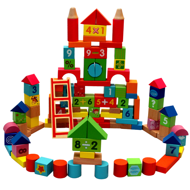 100 chunks of wooden toys intellectual building blocks of digital building blocks assembled children's educational toys years