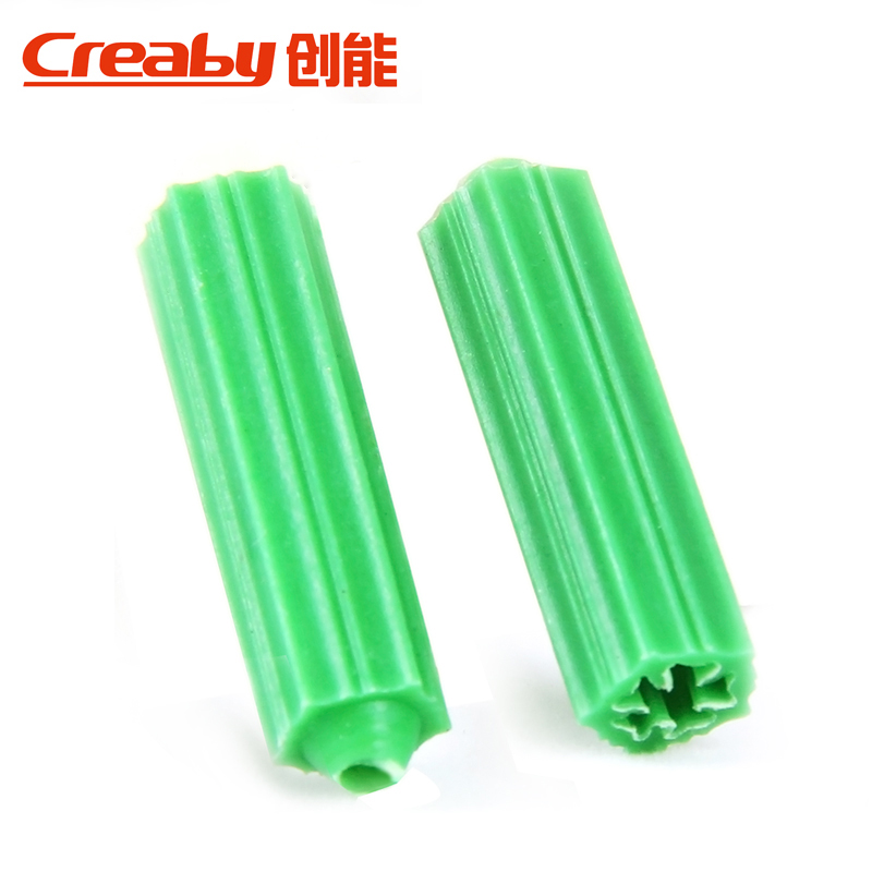 [100] green nylon stopper plastic expansion pipe expansion screw anchor plugs rubber stopper wall plug m6/m8