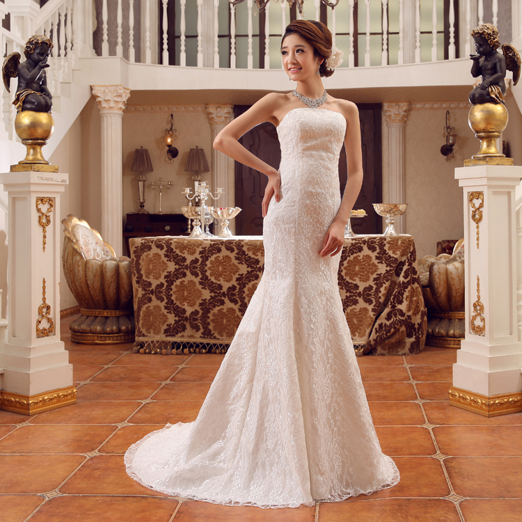 Bride wedding dress waist fishtail wedding dress 2016 new slim was thin bra straps large size wedding yarn autumn and summer