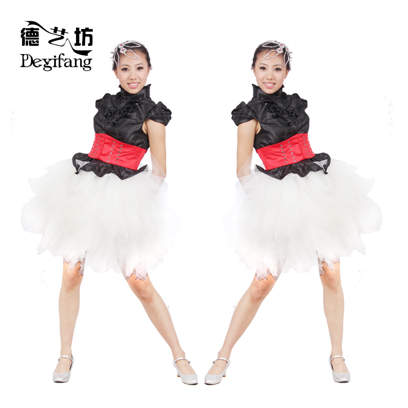 Modern dance clothing/costumes/stage performance clothing/dress-black wood ear collar short paragraph small ceremony dress