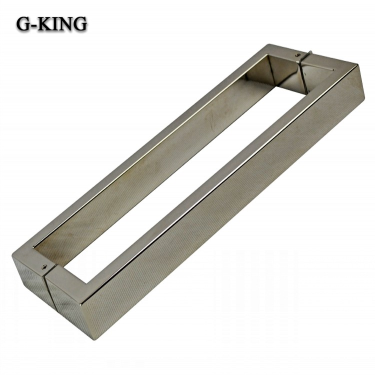 Promotional stainless steel door handle glass door handle hot elbow handle square tube at right angles to the mirror one pair installed