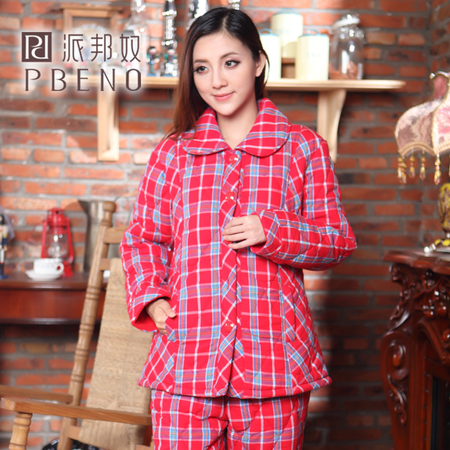 Send state slaves autumn and winter female cotton thick warm quilted plaid pajamas sleeved tracksuit thick plaid suit