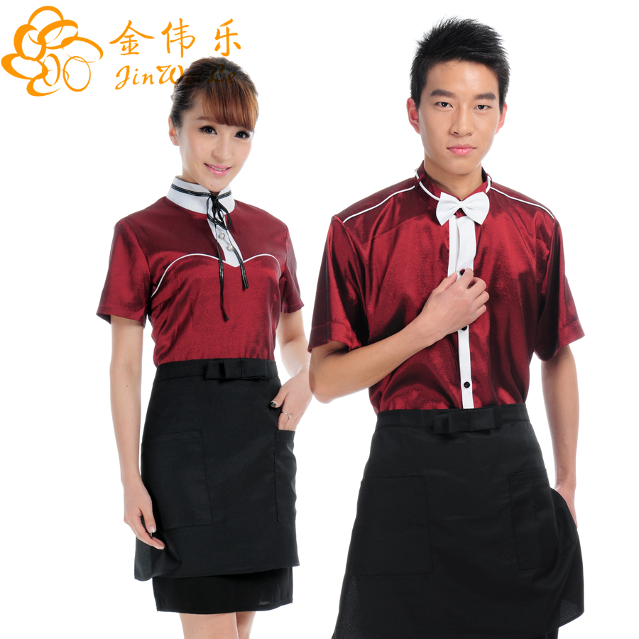 Kim wai lok hotel uniforms restaurant waiter overalls summer uniforms hotel cafe short sleeve ct13