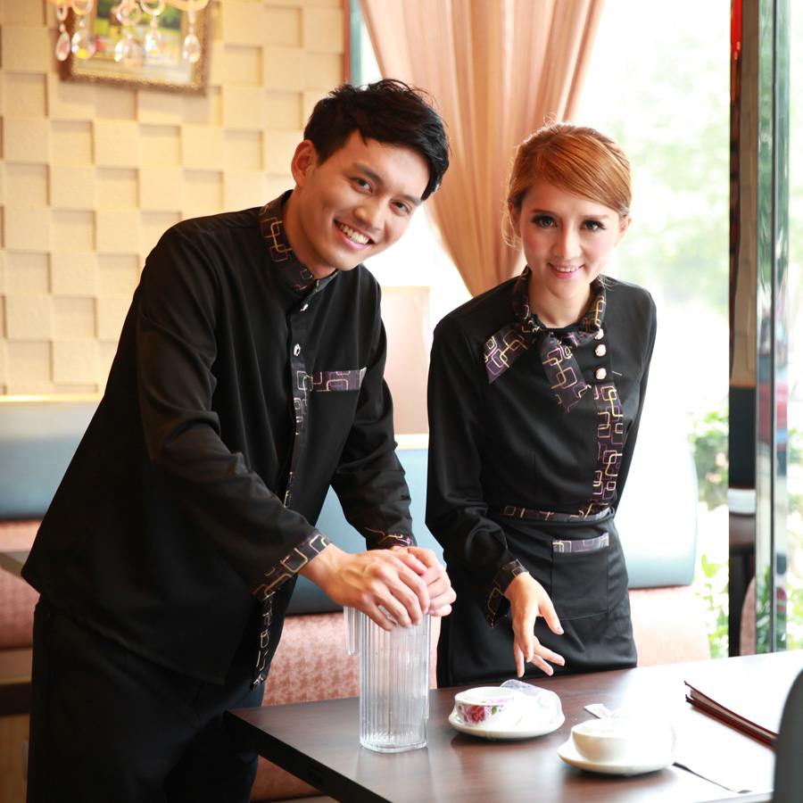 Kim wai lok hotel waiter sleeved overalls overalls fall and winter clothes hotel restaurant catering uniforms