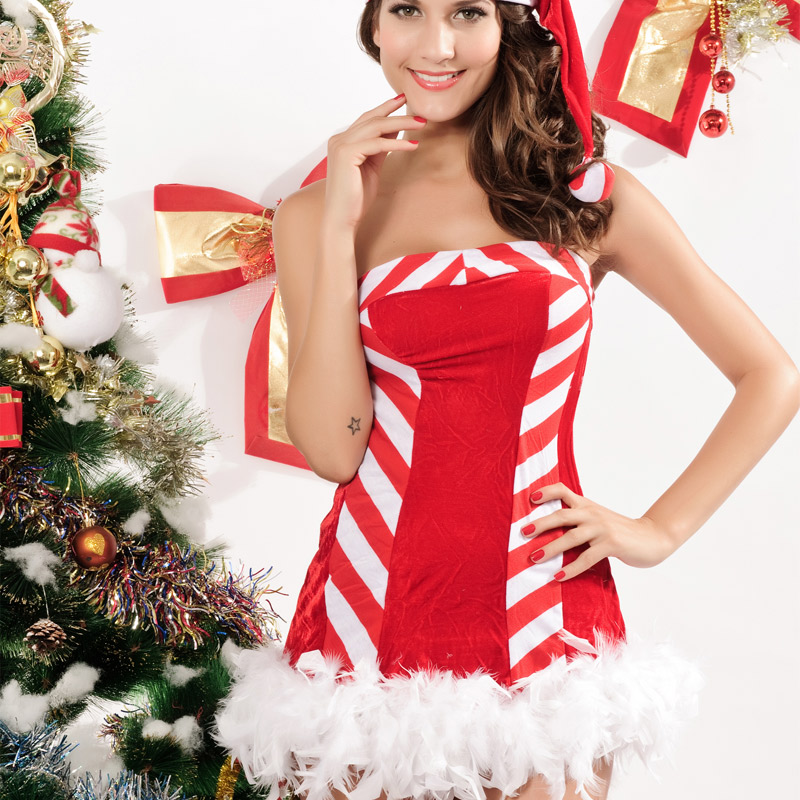 The most romantic thing 2015 new european and american women's red christmas dress christmas dress + hat 716 5