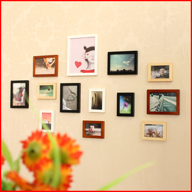 Cit creative wood frame wall photo wall photo frame wall 13 box combination for lying on the living room cozy room photo