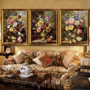 Handmade flower european classical pure hand painted oil painting framed painting murals living room bedroom villa entrance hallway decoration