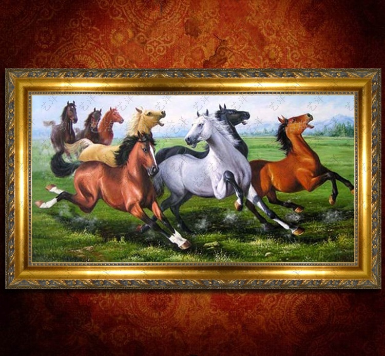 Upscale handmade oil painting animal horse figure classical chinese feng shui office room living room with fireplace framed painting/86684