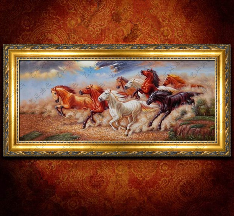 Upscale handmade oil painting animal horse figure classical chinese feng shui office room living room with fireplace framed painting/90763