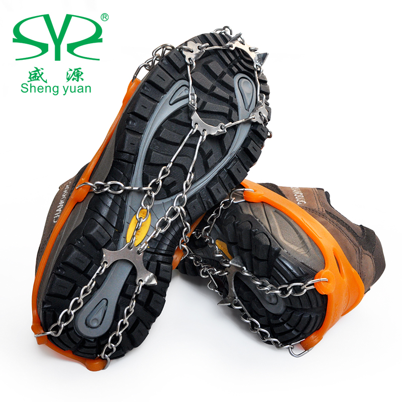 Shengyuan outdoor equipment 8 tooth snow mountaineering crampons simple slip shoe covers eight teeth crampons portable 0.3 kg
