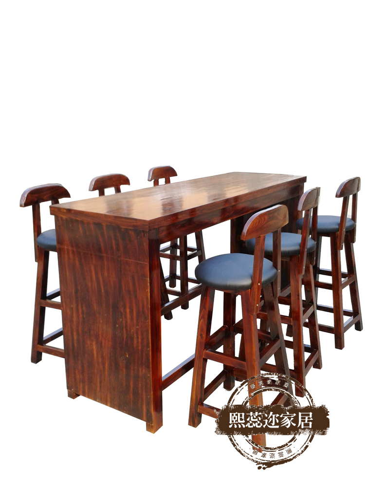 Rui xi er carbonized wood preservative tall bar stool bar cafe tables and chairs retro kit installed home