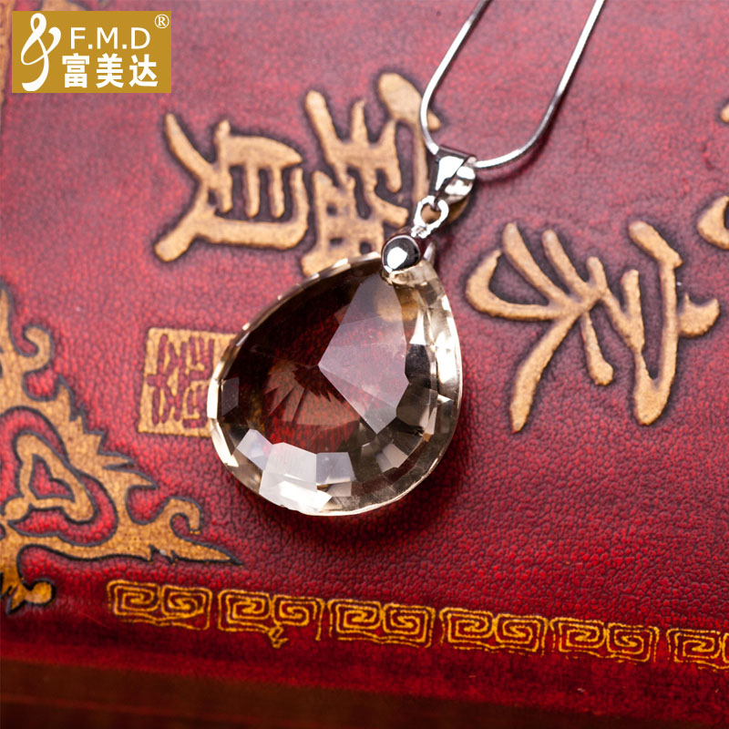 Metroplex rich natural citrine/smoky quartz pendant with sterling silver necklace female drops pendant attached certificate