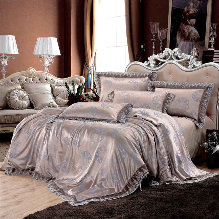 Love welcomes european textile cotton satin imported lace satin jacquard denim wedding bedding tencel XLX-01