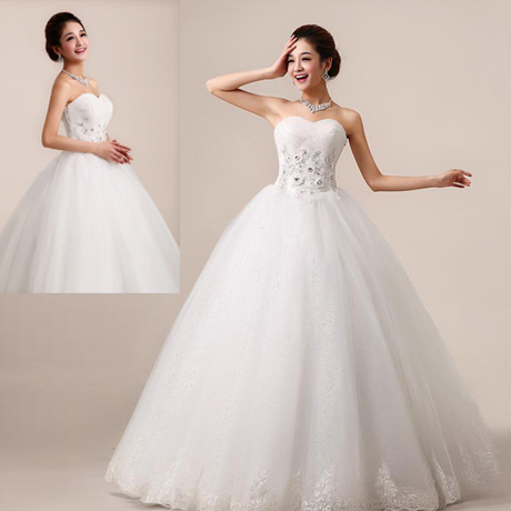 Waist straps bra korean wedding dress new 2015/favorite bride was thin sweet princess 1092