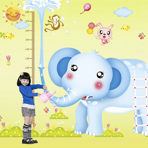 Boys and girls bedroom children room kindergarten classroom furnishing large amount of height wall stickers cartoon elephant