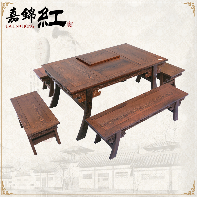 Mahogany furniture wenge qin style 5 sets of classical chinese tea table tea wood tea table wenge wood furniture