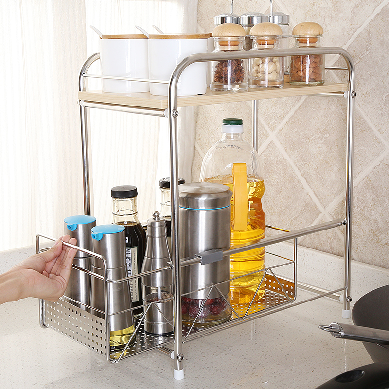 1208 s 304 stainless steel double kitchen shelf seasoning rack spice rack shelf scalable two floor