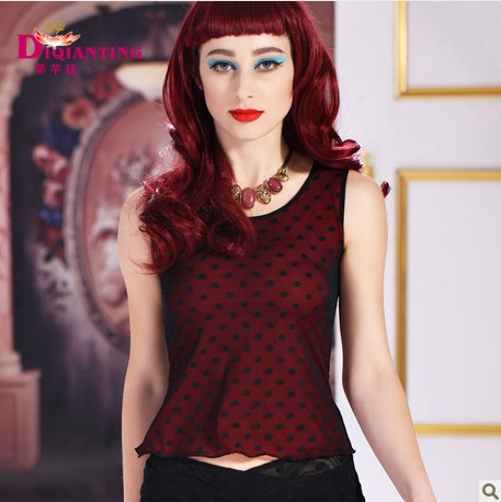 Di qian ting spring and summer round neck sleeveless vest short paragraph polka dot mesh vest sexy double hit color t-shirt suspenders