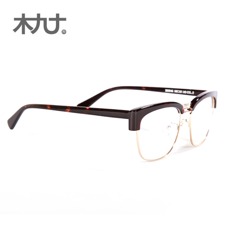 Wood ninety counter genuine 26004G british retro yuppie style chinese partner and a half gold frame glasses frame