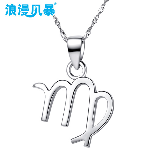 True romance 925 silver 12 korean version of the constellation libra scorpio pendant necklace ms. clavicle chain pendant