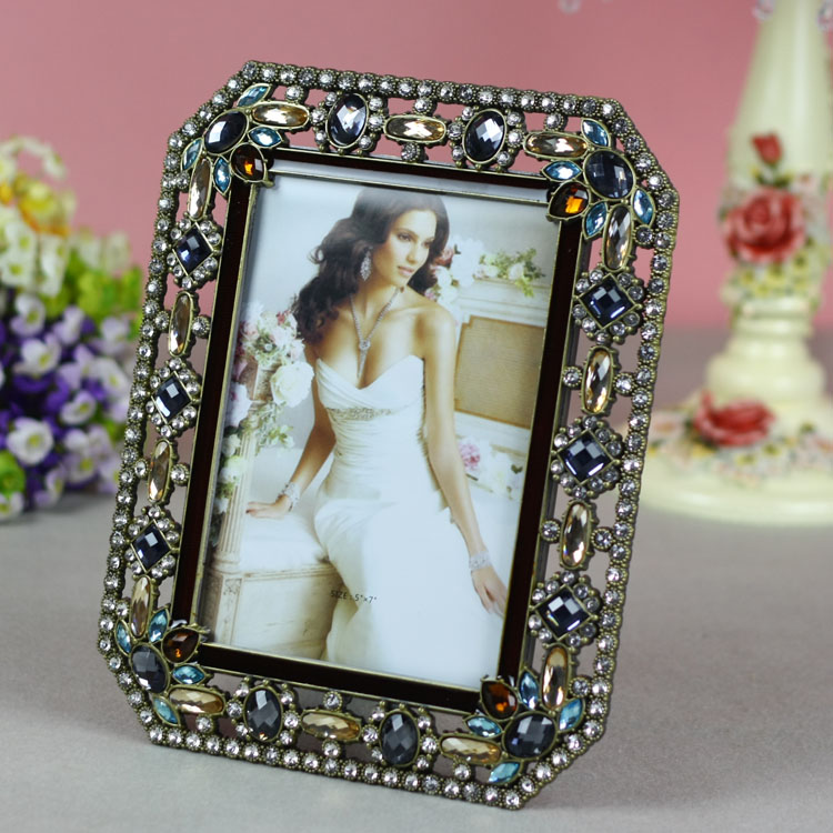 Tqj/6 inch/7 inch euclidian alloy frames/inlay diamond/wedding life according to a rectangular shape Picture frame/t518