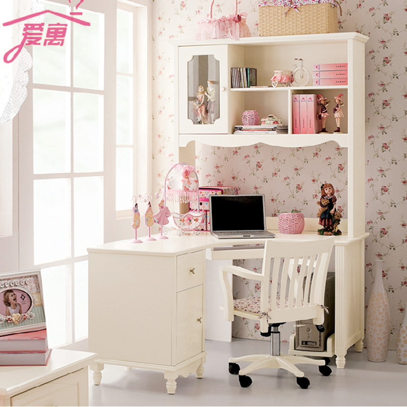 Korean glass wood bookcase bookcase bookcase simple combination of computer desk desk home desktop computer desk corner desk for children
