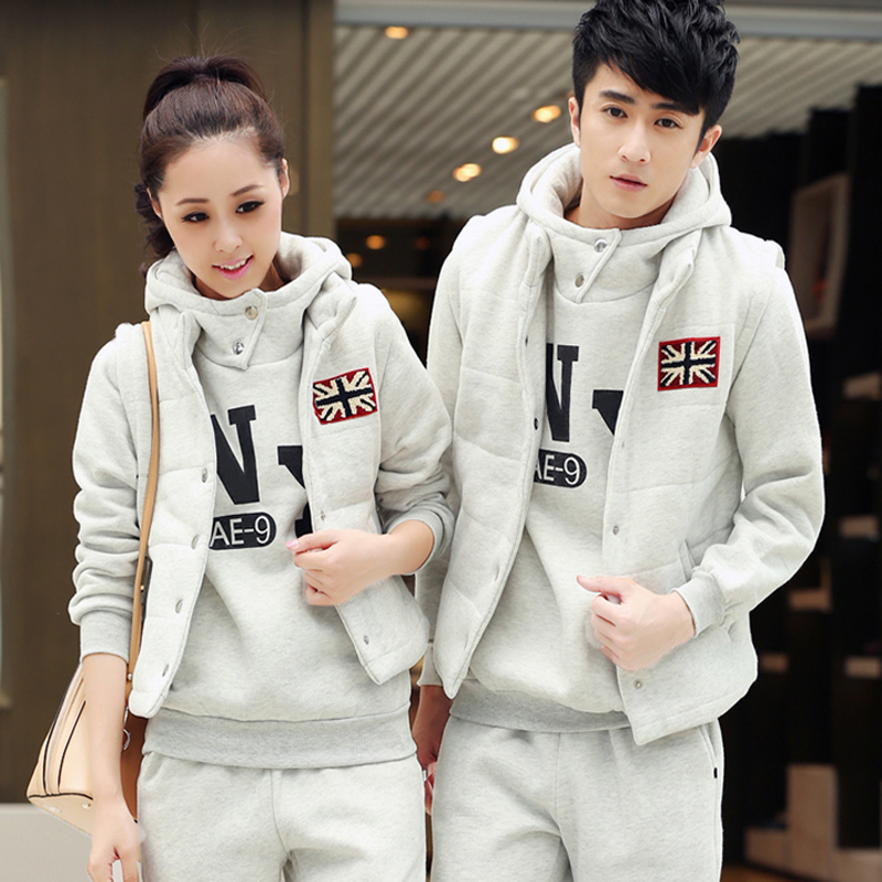 Letter dated 2016 from the three sets of male ms. spring and autumn and winter big yards plus velvet track suit casual wear sportswear couple