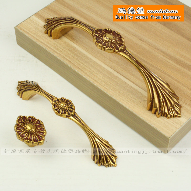 Madeleine fort european antique carved golden handle handle european cabinet drawer handle wardrobe cabinet door handles handle