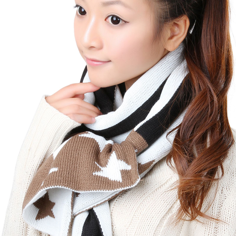 Korpi korean version of the influx of female autumn and winter days warm wool scarf fashion wild striped long section of article 0215 pattern scarf