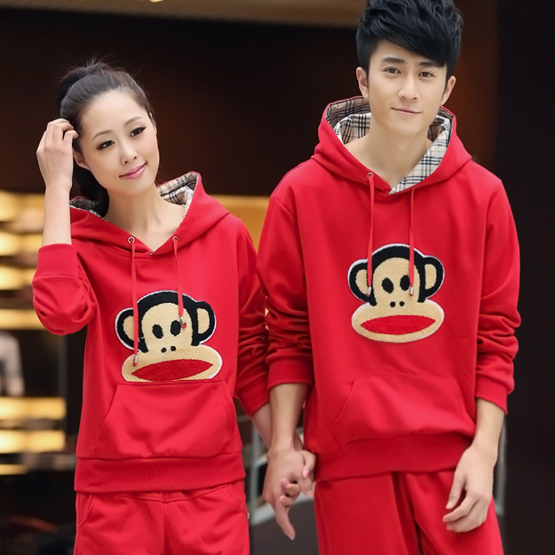 2016 new casual hooded men and women lovers sportswear spring and autumn and winter plus velvet big yards sports suit