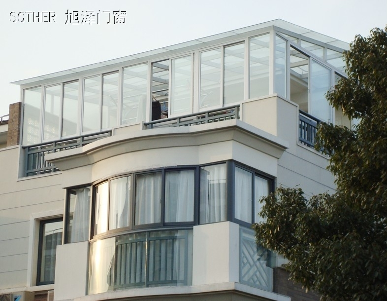 Xu ze new national promotions cheap glass top sun room steel structure, professional closed balcony balcony factory