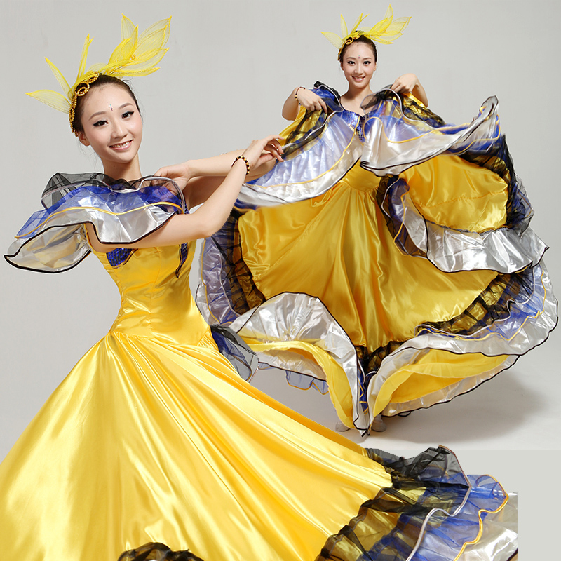 Performance Costumes 2016 New Opening Dance Big Skirt Modern Stage With Dancing Dress National Wind Female Novelty & Special Use Chinese Folk Dance