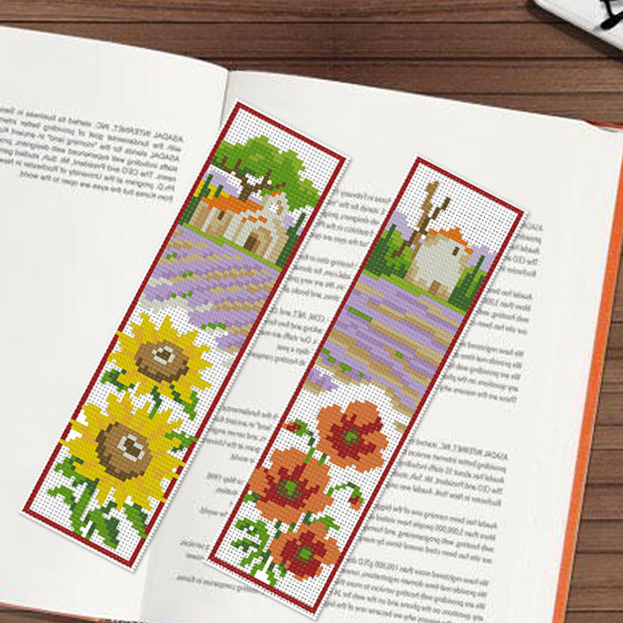 Cool stitch new authentic living room suite bookmarker poppy landscape sunflower
