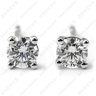 Tang autumn 40 points natural diamond vs ij color pt950 platinum diamond stud earrings platinum earrings female models
