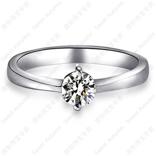 Tang autumn 50 points nvjie vs ij color au750 k white gold engagement ring wedding ring genuine