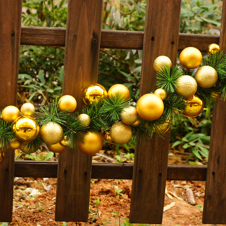 If ting soft blue christmas ball christmas decoration golden needles rattan cane hotel door hanging decorations gold