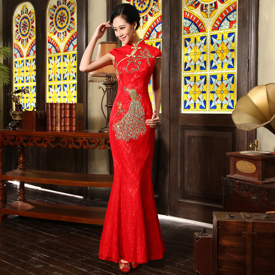 2013 new bride cheongsam fashion toast dress long section of red lace wedding ceremony dress skirt bride scentedly q4