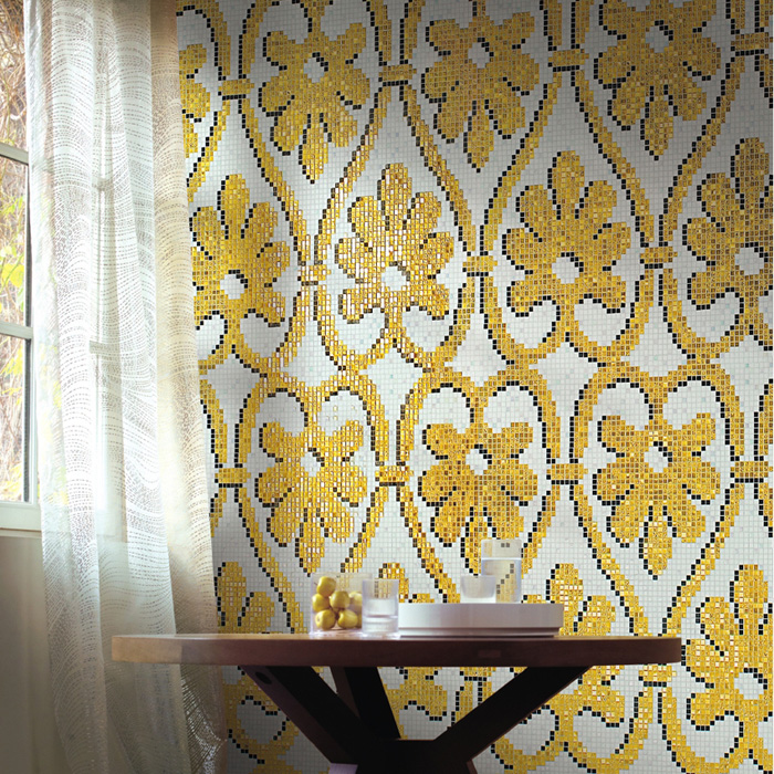 Flower stone language golden mosaic tile puzzle backdrop tv wall mosaic bathroom specials