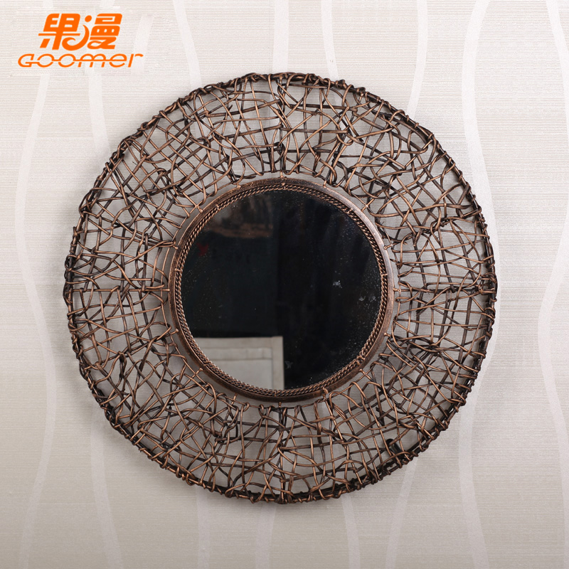 Continental iron man fruit rattan decorative mirror mirror personality creative decorative wall mirror vanity mirror bath room (with mirror)
