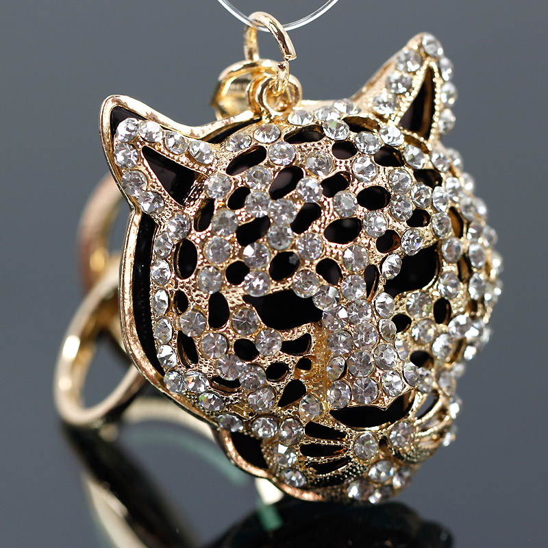 Free shipping korean rhinestone leopard head keychain car key chain ms. male couple creative gift