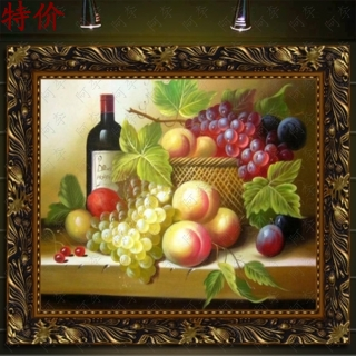 Handmade oil painting still life of fruit bottle painted pure vertical home restaurant decorative painting mural wall painting paintings framed painting