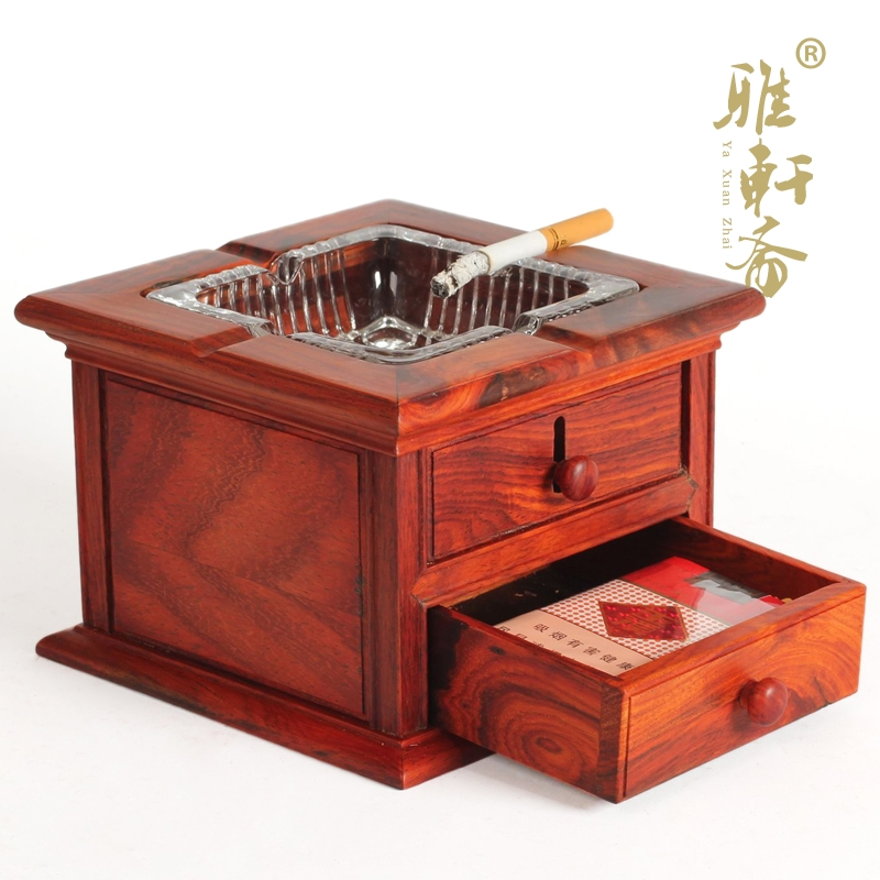 Large solid wood carved mahogany red wood crafts ashtray retro fashion creative personality ashtray