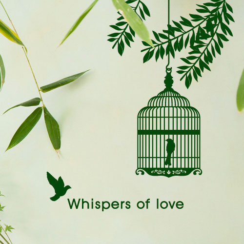 [Figure] romantic decorative wall stickers bedroom bedside background living room sofa tv background branches birdcage