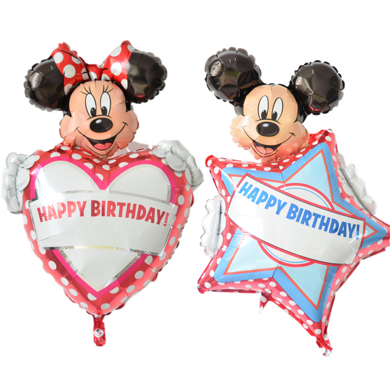 Us imports of aluminum anagram disney mickey minnie mouse children's birthday party foil balloons